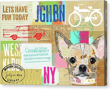 Dog Canvas Print - Vintage Collage Chihuahua by Claudia Schoen