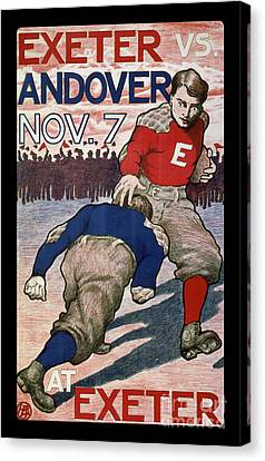 Vintage College Football Exeter Andover Canvas Print by Edward Fielding