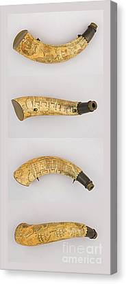 Canvas Print featuring the photograph Vintage 1767 Colonial American Powder Horn Four Views by John Stephens