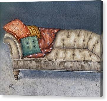 Canvas Print featuring the painting Vintage Comfy Couch by Kelly Mills