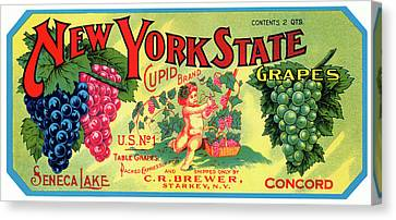 Concord Grapes Canvas Print - Vintage Concord Grape Packing Crate Label C. 1920 by Daniel Hagerman