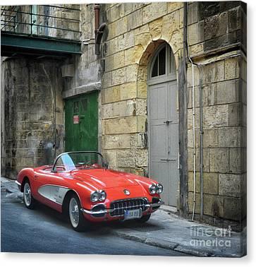 Vintage Corvette In Valletta Canvas Print by Stephan Grixti