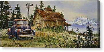 Old Trucks Canvas Print - Vintage Country Landscape by James Williamson