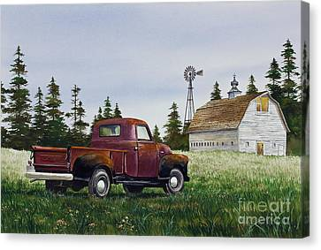 Canvas Print featuring the painting Vintage Country Pickup by James Williamson