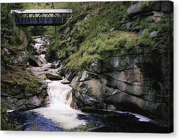 Canvas Print featuring the photograph Vintage Covered Bridge And Waterfall by Jason Moynihan