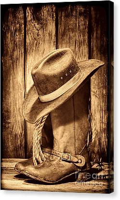 Vintage Cowboy Boots Canvas Print by American West Legend By Olivier Le Queinec