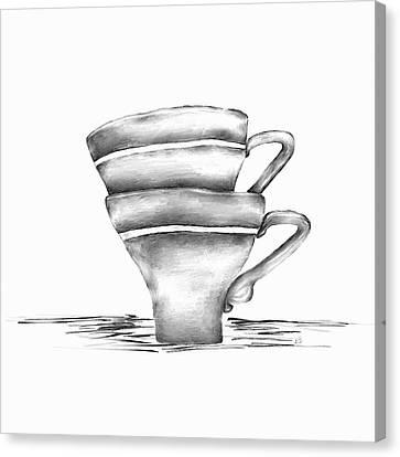 Vintage Cups Canvas Print by Brenda Bryant