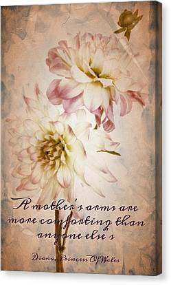 Vintage Dahlias Number 9 Mother's Day Card By C J Anderson Canvas Print by CJ Anderson