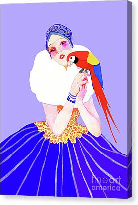 Canvas Print featuring the painting Vintage Dancer With Parrot by Marian Cates