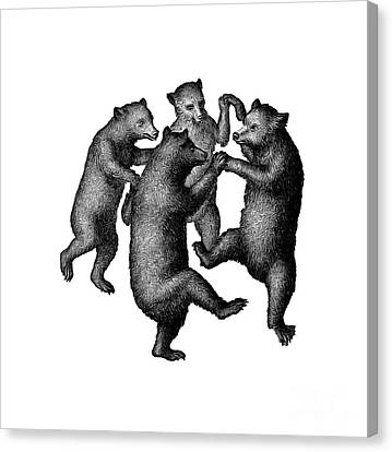 Vintage Dancing Bears Canvas Print
