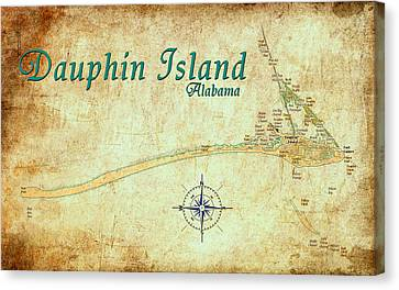 Antique Map Canvas Print - Vintage Dauphin Island Map by Greg Sharpe