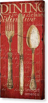 Vintage Dining Utensils In Red Canvas Print by Grace Pullen