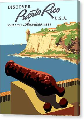 Historic Site Canvas Print - Vintage Discover Puerto Rico Wpa Travel by Works Progress Administration
