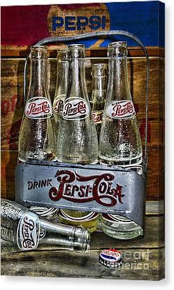 Vintage Soda Bottles Canvas Print - Vintage Double Dot Metal Pepsi Carrier. by Paul Ward