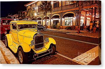Vintage Dreams And City Lights Canvas Print by Mary Lou Chmura