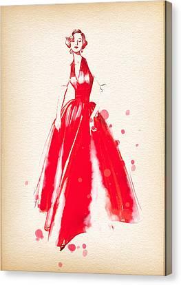 Vintage Dress Red Ball Gown 2 - By Diana Van Canvas Print by Diana Van