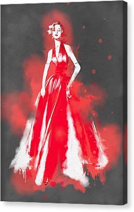 Vintage Dress Red Ball Gown - By Diana Van Canvas Print by Diana Van