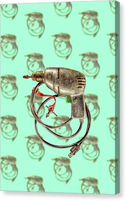 Canvas Print featuring the photograph Vintage Drill Motor Green Trigger Pattern by YoPedro