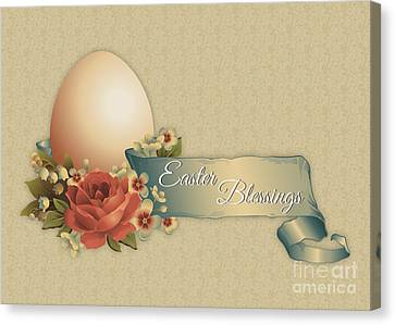 Canvas Print featuring the digital art Vintage Easter by JH Designs