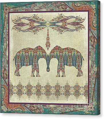 Canvas Print featuring the painting Vintage Elephants Kashmir Paisley Shawl Pattern Artwork by Audrey Jeanne Roberts