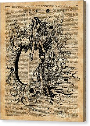 Collage Tapestries - Textiles Canvas Print - Vintage Fairies Magic Illustration Antique Ink Artwork Dictionary Book Page Art  by Jacob Kuch