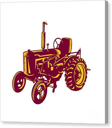 Vintage Farm Tractor Woodcut Canvas Print