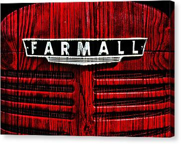 Vintage Farmall Red Tractor With Wood Grain Canvas Print