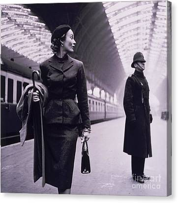 Vintage Trains Canvas Print - Vintage Fashion Elegant Lady by Mindy Sommers