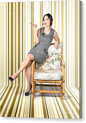 Vintage Fashion Portrait Of Elegant Smoking Woman  Canvas Print by Jorgo Photography - Wall Art Gallery