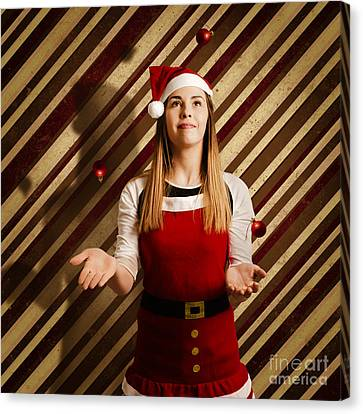 Vintage Female Elf Juggling Christmas Decorations Canvas Print