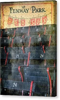 Boston Red Sox Canvas Print - Vintage Fenway Park Blue Seats by Joann Vitali