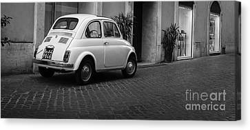 Vintage Fiat 500 Rome Italy Black And White Canvas Print