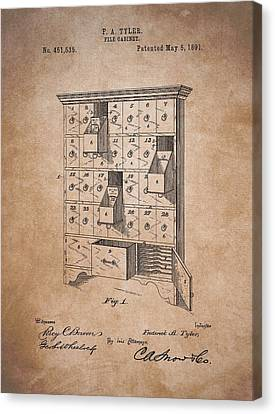 Drawers Canvas Print - Vintage Filing Cabinet Patent by Dan Sproul