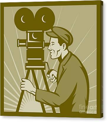 Vintage Film Camera Director Canvas Print by Aloysius Patrimonio
