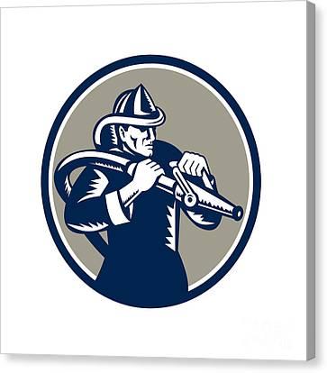 Vintage Fireman Firefighter Aiming Hose Circle Woodcut Canvas Print