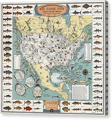 Vintage Fishing Map 1936 Canvas Print by Daniel Hagerman