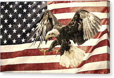Canvas Print featuring the photograph Vintage Flag With Eagle by Scott Carruthers
