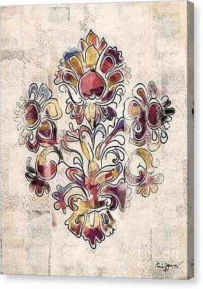 Canvas Print featuring the mixed media Vintage Fleur by Carrie Joy Byrnes
