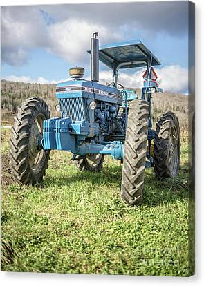 Blue Ford Canvas Print - Vintage Ford 7610 Farm Tractor by Edward Fielding