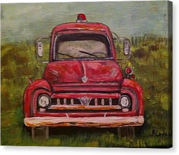 Vintage  Ford Fire Truck Canvas Print by Belinda Lawson