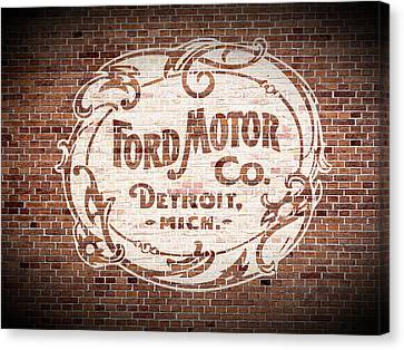 Old Canvas Print - Vintage Ford Logo Painted On Old Brick Wall In Detroit Michigan by Design Turnpike