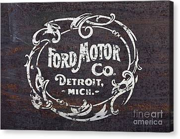 Vintage Ford Motor Co. Rusty Sign Canvas Print by Edward Fielding