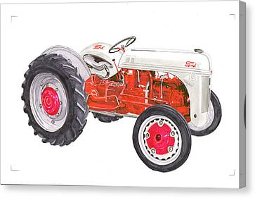 Canvas Print featuring the painting Vintage Ford Tractor 1941 by Jack Pumphrey
