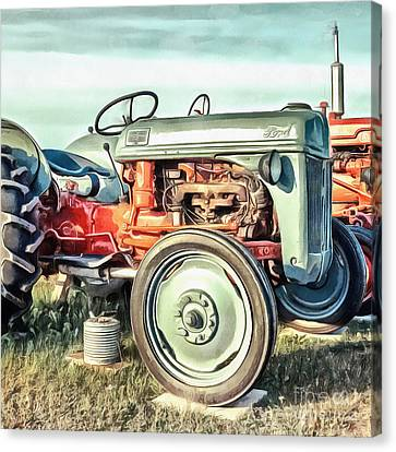 Vintage Ford Tractor Square Canvas Print by Edward Fielding