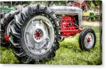 Vintage Ford Tractor Watercolor Canvas Print by Edward Fielding