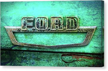 Canvas Print featuring the photograph Vintage Ford Truck Logo  by Terry DeLuco