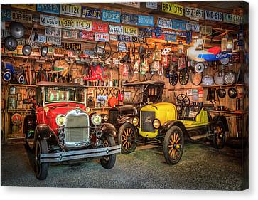 Canvas Print featuring the photograph Vintage Fords Collectibles by Debra and Dave Vanderlaan