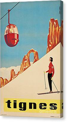 Vintage French Skiing Canvas Print by Mindy Sommers