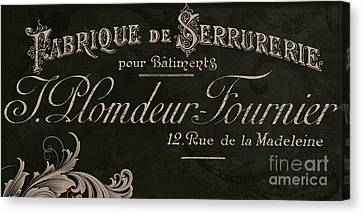 Vintage French Typography Sign Canvas Print by Mindy Sommers