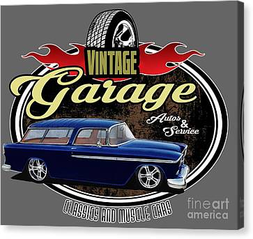 Vintage Garage With Nomad Canvas Print by Paul Kuras